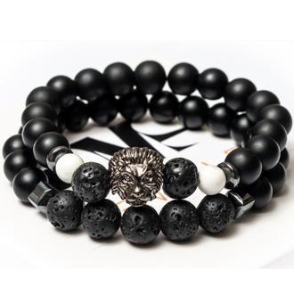 Парные браслеты мужские DMS Jewelry из шунгита, лавового камня, кахолонга WHITE LION