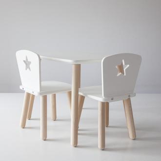Комплект деревянный стол и два стула для детей