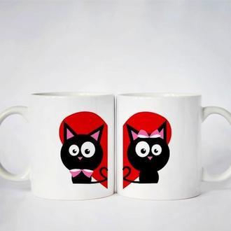 """К000538Парные белые чашки (кружки) с принтом """"Кошечки на сердце"""""""