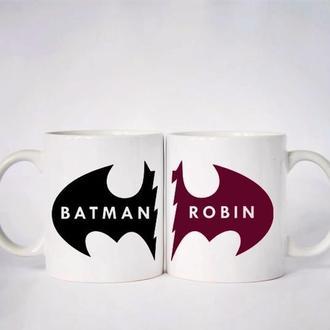 """К000542Парные белые чашки (кружки) с принтом """"Batman. Robin"""""""