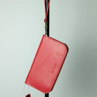 Красный женский портмоне из натуральной кожи Zipper Teo