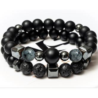 Парні чоловічі браслети DMS Jewelry з шунгита, обсидіану, лавового каменю BIG STONE & GREY