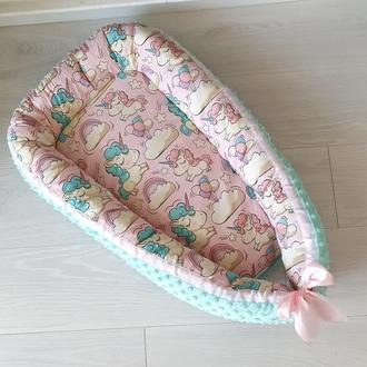Кокон для ребенка (гнездышко, бебинест) Mint unicorns
