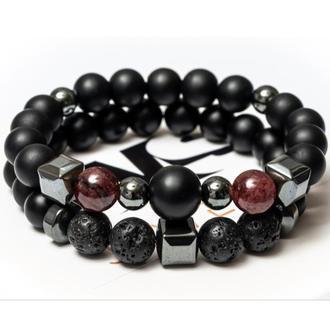 Парные браслеты мужские DMS Jewelry из шунгита, лавового камня, граната BIG STONE & RED