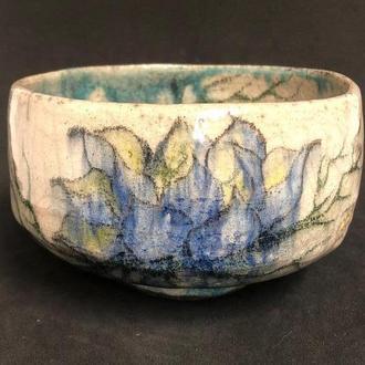 Чаван - чаша для японской чайной церемонии, ручная роспись, раку