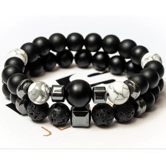 Парные браслеты мужские DMS Jewelry из шунгита, лавового камня, кахолонга BIG STONE & WHITE