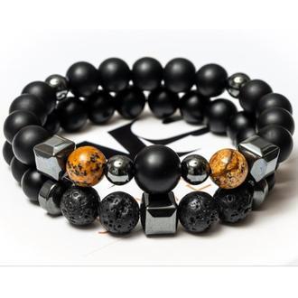 Парные браслеты мужские DMS Jewelry из шунгита, лавового камня, пейзажной яшмы BIG STONE & YELOW