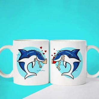 """К000552Парные белые чашки (кружки) с принтом """"Дельфины"""""""