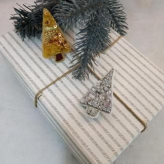 Новогодние броши елки. Золотая елка. Серебряная елка. Новогодние аксессуары.