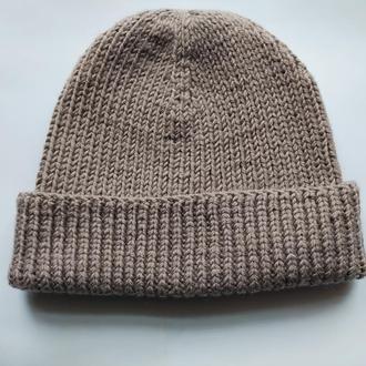 Сіра шапка біні резинкою з відворотом