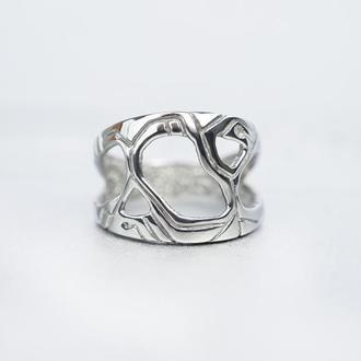 """Мужское серебряное кольцо """"METEOR""""   Широкое серебряное кольцо"""