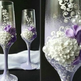 Свадебные бокалы в сиреневом цвете (недорого)  ТЛ-2203