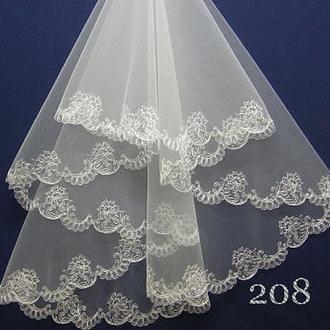 Фата айвори, компьютерная вышивка (длина до пояса) СО-208