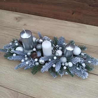 Новорічна різдвяна композиція зі свічками, Новорічний різдвяний підсвічник, декор столу