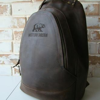 Очень крутой винтажный кожаный рюкзак/ инд пошив