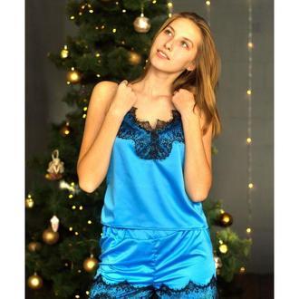 Lace Top Satin Pajama shorts Set
