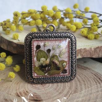 Подвеска с цветами гипсофилы и сухоцветов из Турции