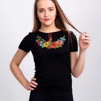 Женская вышитая футболка. Западный мак, черная 3XL (52-54)