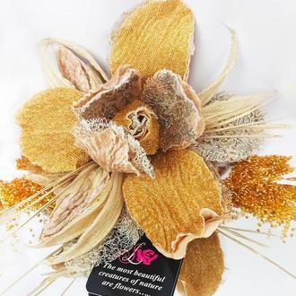 Брошь-цветок Ирис «Золотая роскошь». Цветы из ткани