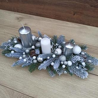Новорічна різдвяна композиція зі свічками на стіл, Новорічний різдвяний підсвічник зі свічками