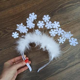 Обруч со снежинками для образа костюма снежинки, Снегурочки.