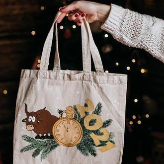 Эко сумка, шопер, с новогодним рисунком, сумка для покупок, новый год быка 2021