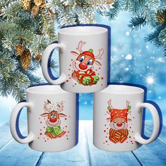 """К000573Семейные белые чашки (кружки) с принтом """"Новогодние олени"""""""