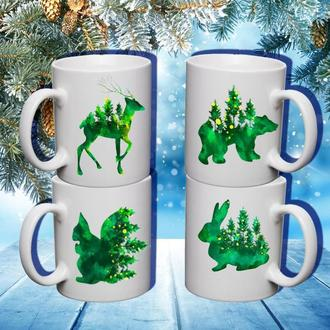 """К000583Семейные белые чашки (кружки) с принтом """"Лесные звери (ЭКО)"""""""