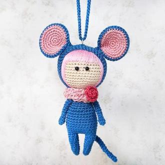 Вязаная кукла Мышка аксессуар в машину, подвеска для зеркала заднего вида