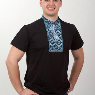 Вышитая футболка мужская чёрная голубая вышивка 56