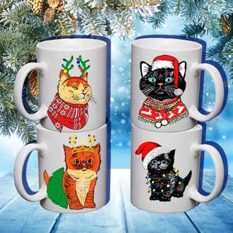 """К000589Семейные белые чашки (кружки) с принтом """"Коты. Новый Год"""""""