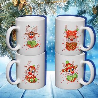 """К000590Семейные белые чашки (кружки) с принтом """"Олени. Новый Год"""""""