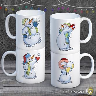 """К000592Семейные белые чашки (кружки) с принтом """"Снеговики"""""""