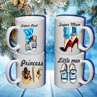 """К000593Семейные белые чашки (кружки) с принтом """"Обувь. Семья"""""""
