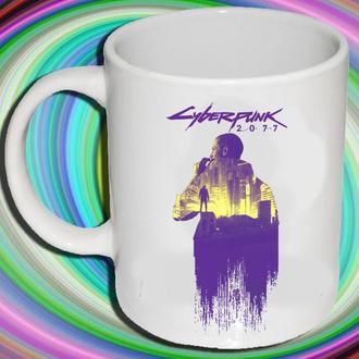 """К000596Белая кружка (чашка) с принтом """"Cyberpunk 2077"""""""
