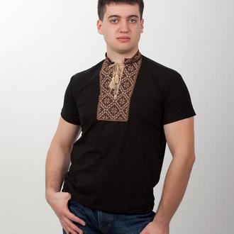 Мужская вышитая футболка ромбовидный орнамент 48