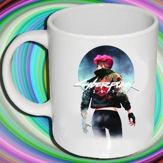"""К000598Белая кружка (чашка) с принтом """"Cyberpunk"""""""