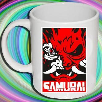 """К000602Белая кружка (чашка) с принтом """"Cyberpunk (Samurai)"""""""