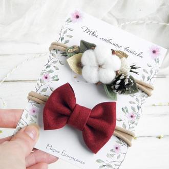 Новогодние повязки для девочки с хлопком и бордовым замшевым бантиком