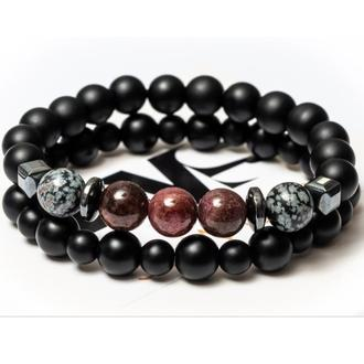 Парные браслеты мужские DMS Jewelry из шунгита, обсидиана, граната EMOTIONAL GRANAT BRASLET