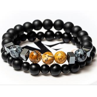 Парные браслеты мужские DMS Jewelry из шунгита, обсидиана, пейзажной яшмы EMOTIONAL JASPER BRASLET