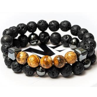 Парні браслети DMS Jewelry з лавового каменю, гематиту, пейзажної яшми men's JASPER VOLCANO STYLE