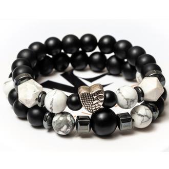 Парные браслеты мужские DMS Jewelry из шунгита, кахолонга, гематита POLIGON HEART