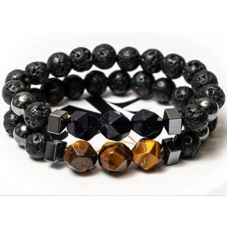 Парные браслеты DMS Jewelry из лавового камня, тигрового глаза, авантюрина PAIR TRIPLE POLYGON DARK
