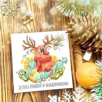 """Магнітик """"Новорічний Олень"""" - веселий і добрий подарунок (принт)"""