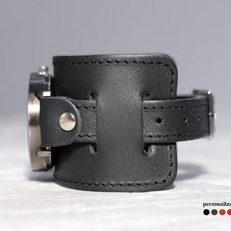 Широкий кожаный ремешок для часов, код 5230ст