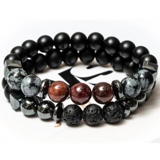 Парные браслеты мужские DMS Jewelry из шунгита, обсидиана, граната POWER OF SCORPION