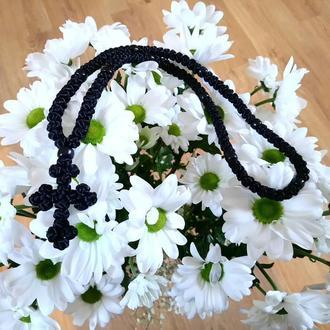 Чётки на шею из фурнитурного шнура с ажурным крестом
