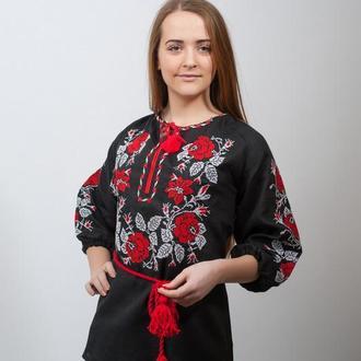 Женская вышиванка Полтавские Розы (красно-белая вышивка)