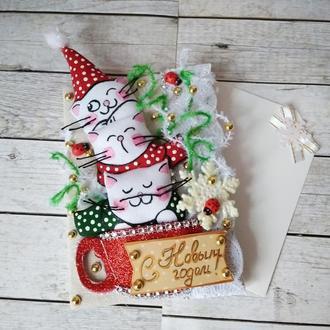Новогодняя открытка  Веселые котики